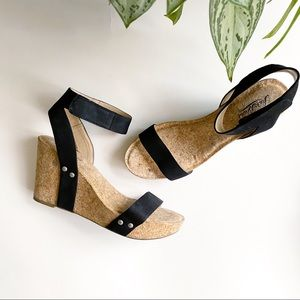 Lucky Brand Leather Cork Strappy Wedge Black